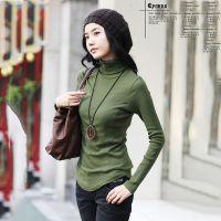 秋装新品2014韩版下摆弧形高领糖果色百搭长袖打底衫 纯色T恤 女