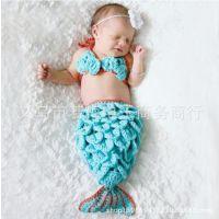 一件批美人鱼手工编织男女婴儿装 手工宝宝毛线帽一件代发