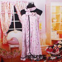 hello Kitty 凯蒂猫 纯棉裹胸粘扣 睡衣 睡裙 浴裙 浴袍送束发带