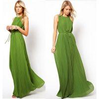 速卖通热卖货源 欧美明星款 深绿色百褶拖地长裙 连衣裙