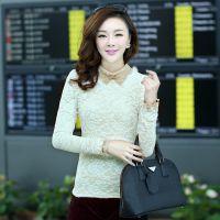 2014秋季新款韩版女式蕾丝衫 兔毛领长袖修身加绒加厚大码 打底衫
