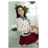 2014秋装新款韩国爆款流行女士娃娃领气质长袖刺绣女装蕾丝打底衫