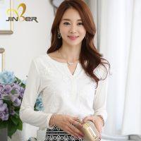 2014秋季新款女装 刺绣长袖T恤 韩版修身显瘦打底衫 厂家直销