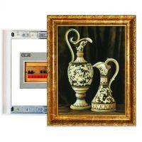 欧式家居装饰画瓶古典典雅简丹艺术电表箱推拉画复古框白金框