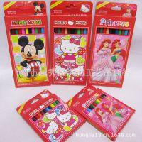 迪士尼彩色铅笔 12色卡通图案彩铅 hellokitty彩色铅笔儿童礼物