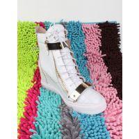 GZ内增高高帮女鞋 坡跟女靴白色牛皮蛇纹平底靴时尚韩版真皮外贸