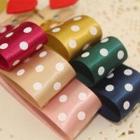 25mm 绦纶织带印花圆点丝带 diy头饰手工发饰材料 服装辅料批发
