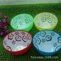彩色花朵塑料碗 耐摔小碗 1元店 2元小商品 义乌小百货 厂家直销