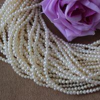 3-4MM小米珠批发 天然淡水珍珠半成品 DIY米形珍珠批发