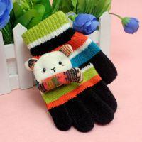 2014冬季儿童保暖手套 寒天精品卡通可爱小熊五指手套 盒装手套