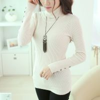 2014秋冬针织打底衫女长袖韩版女装螺纹贝壳扣高领毛衣