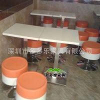 咖啡厅餐桌椅组合 茶餐厅奶茶店实木软包椅子