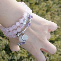 天然水晶粉水晶紫水晶马克赛猫眼石葫芦多宝多圈手链手串