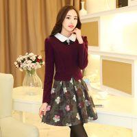2014秋冬新款 韩版气质修身甜美娃娃领长袖拼接毛呢连衣裙批发