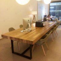 美式乡村咖啡茶餐厅桌椅 实木长方桌子书桌 北欧铁艺办公桌会议桌