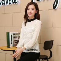 秋季新款韩版女装打底衫 长袖撞色修身大码蕾丝拼接雪纺衫批发