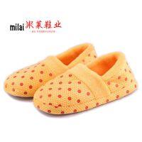供应圆点月子棉拖鞋 冬季保暖韩版软底毛绒包跟室内拖鞋批发混批