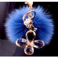 专业生产韩国饰品 毛绒毛球钥匙扣  水晶四叶草狐狸毛挂件钥匙扣