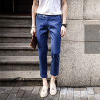 时尚男装夏季新款牛仔裤 水洗磨白纯色翻遍 韩版潮牌男九分66K54