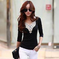 2014秋装新款韩版女装花边装饰打底衫加加厚加绒长袖T