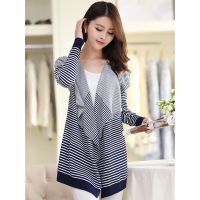 新款韩版针织开衫女  长袖中长款条纹大码外套打底衫