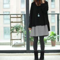 2013秋冬装新例外布衣风格韩版女装宽松大码两件套长款毛衣连衣裙