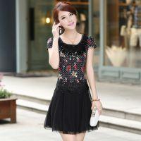 2014夏装大码韩版新款修身显瘦蕾丝碎花荷叶边裙妈妈装中年连衣裙