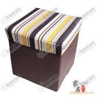 【厂家直批】优质无纺布 可折叠 收纳箱/收纳凳 正方形黄条纹