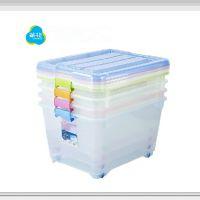 茶花45L透明塑料收纳箱 大号有盖滑轮衣服整理箱储物箱2837
