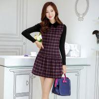 韩国女装秋冬新款 韩版羊毛呢格子修身大码针织长袖品牌连衣裙
