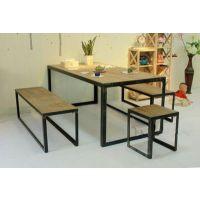 美式乡村餐厅时尚长方形实木餐桌椅组合复古做旧餐桌椅组合批发