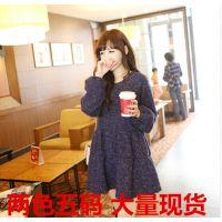 秋冬新款女装 韩版宽松大码长袖毛呢连衣裙女女士长袖打底裙