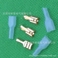 金色6.35mm插簧 连接器 母端子 接线头 带绝缘护套