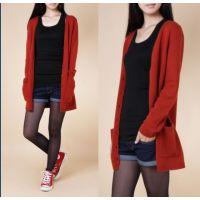 女式秋季新款纯羊绒开衫V领中长款针织衫毛衣羊毛衫羊绒衫打底衫
