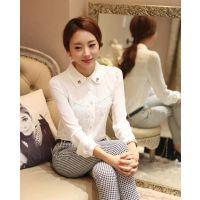 8606#长袖秋装新款休闲雪纺衫韩版女装潮打底衫女士衬衣大码