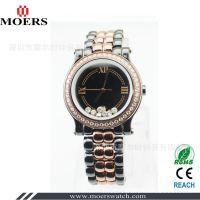 深圳手表厂家生产黑色陶瓷间玫瑰金手表 镶钻防水陶瓷手表 走珠表