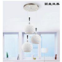 批发现代简约白色陶瓷三头led餐吊灯创意卧室灯具餐厅灯吧台灯