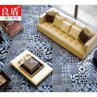 上海良盾水泥黑白花砖怀旧复古手工砖餐厅会所地下室200*200