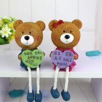 树脂吊脚娃娃 抱心小熊情侣摆件 创意自我介绍结婚礼物 工艺品