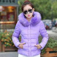 韩国代购新款羽绒服短款连帽大毛领时尚收腰多色羽绒棉衣外套