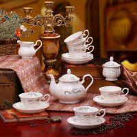 15头欧式骨瓷咖啡具套装英式下午茶具咖啡杯碟套装陶瓷 金如意