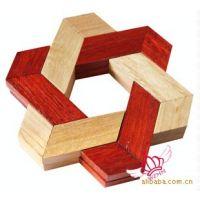 木质 六角片 桌游 鲁班锁 孔明锁 双色三角锁 开锁解锁  YX013