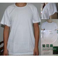 批发菊花牌42支全棉男士圆领短袖汗衫T恤纯棉纯白色老头衫 广告衫
