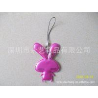 粉红色长尾兔吊饰  布料小动物挂件