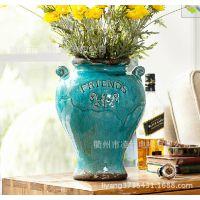 批发圣莱克伊浮雕双耳欧式仿古复古陶瓷工艺品花瓶 花插可混批