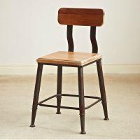 美式乡村铁艺餐椅创意复古实木椅子酒吧椅靠背椅时尚休闲椅