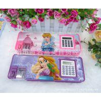 厂家批发多功能韩国文具盒 创意儿童铅笔盒 公主PVC塑料文具盒