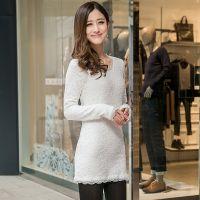 2014秋装新款双层蕾丝打底衫中长款打底蕾丝衫