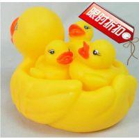 厂家直销网鸭戏水鸭 大黄鸭一大三小 儿童玩具批发 洗澡鸭子直销T