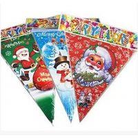 批发圣诞彩旗 圣诞吊旗 圣诞节场景布置 圣诞老人三角旗 三角吊旗